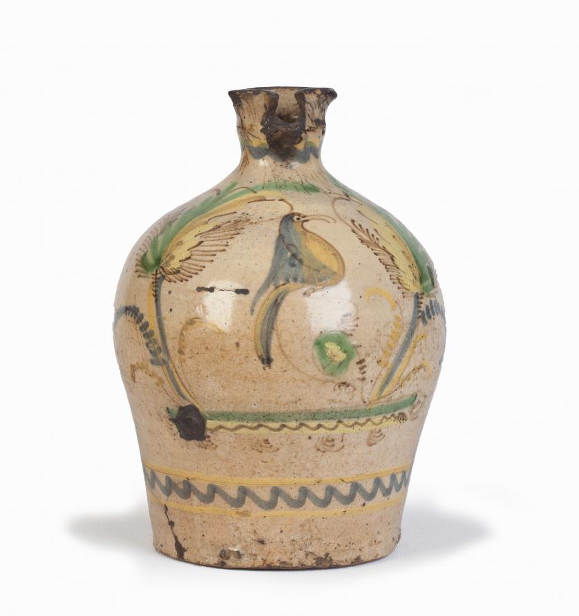 Alcuza de cerámica esmaltada.Puente del Arzobispo, S. XIX