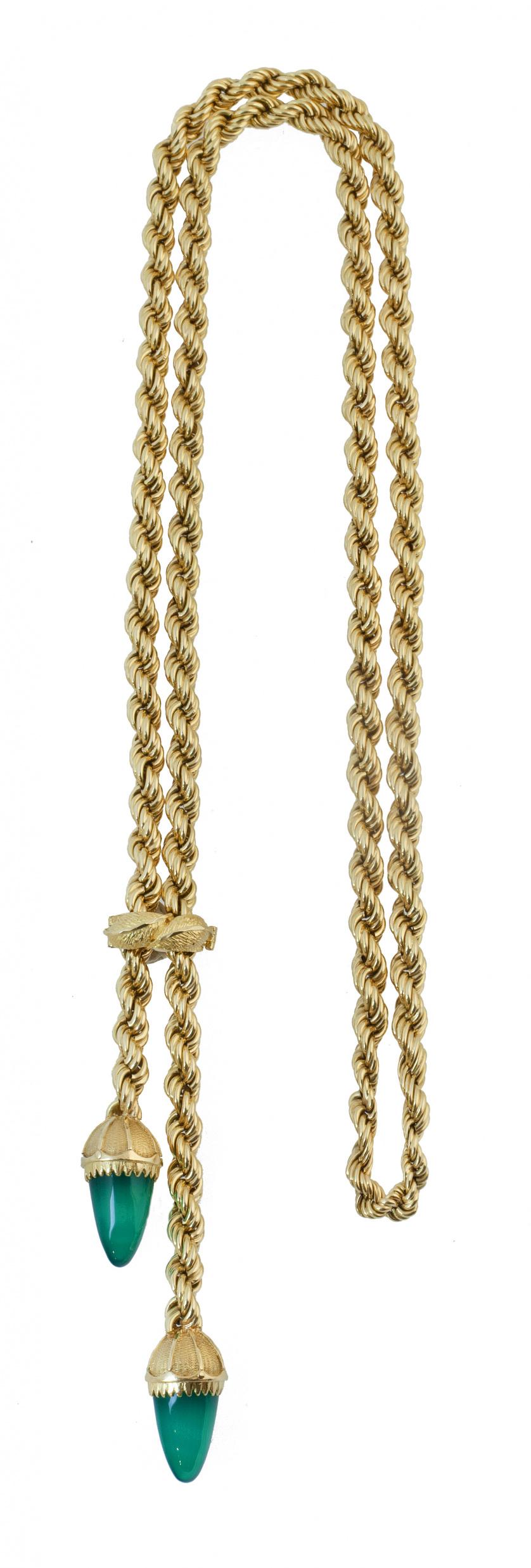 Collar años 50 de gran cordón rizado de oro, con borlones c