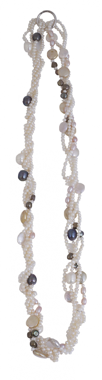 Collar de cuatro hilos de perlas que combina perlas blancas