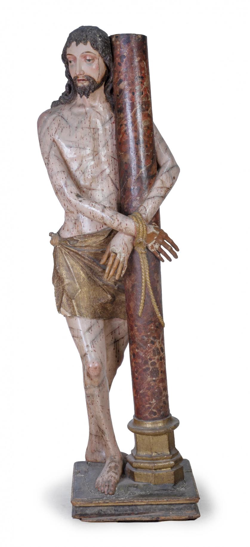 """""""Cristo atado a la columna"""".Escultura en madera tallada y"""