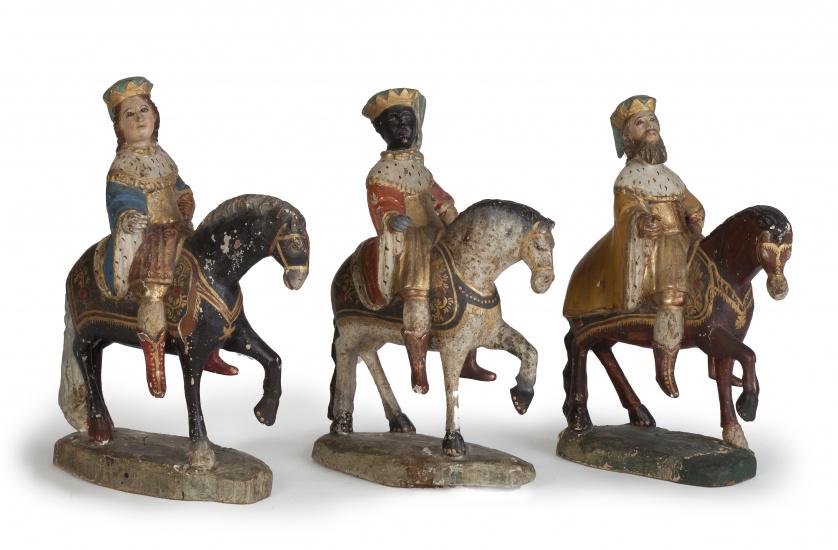 Reyes Magos.Esculturas en madera tallada y policromada.