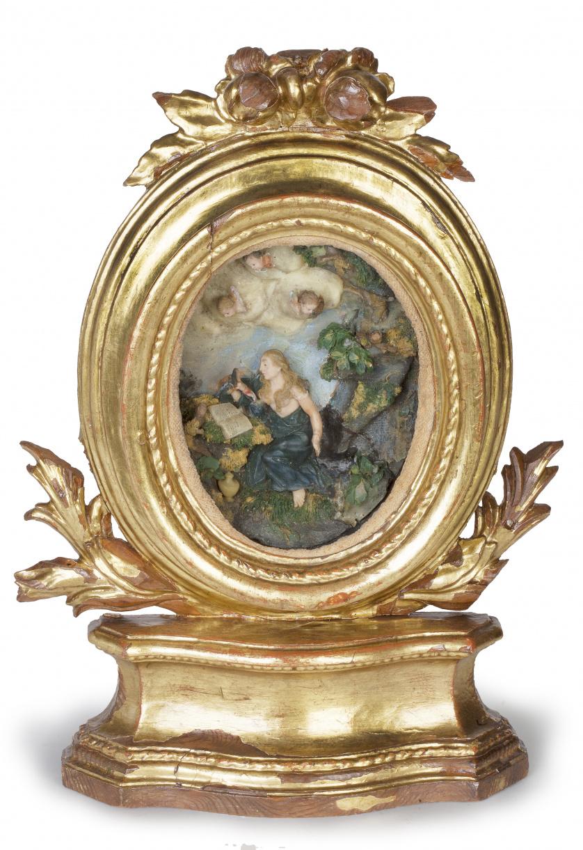 """""""Magdalena penitente"""".Medallón en cera tallada y policrom"""