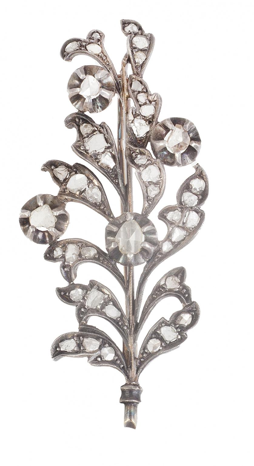 Broche rama de diamantes S. XIX
