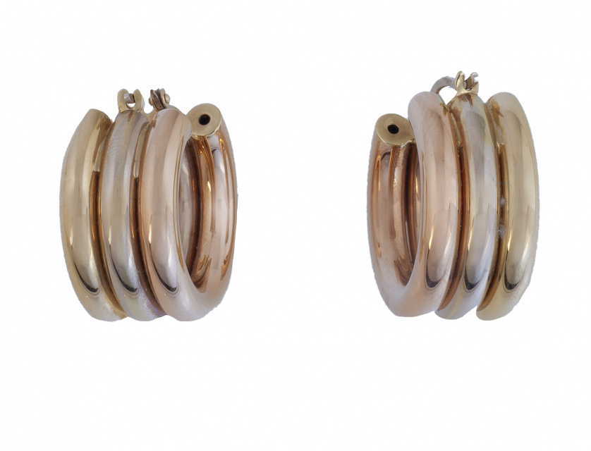 Pendientes criollas anchas con tres aros tubulares unidos e