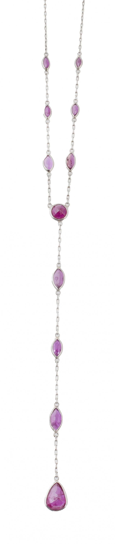 Collar con rubíes de diferentes tallas facetadas articulada