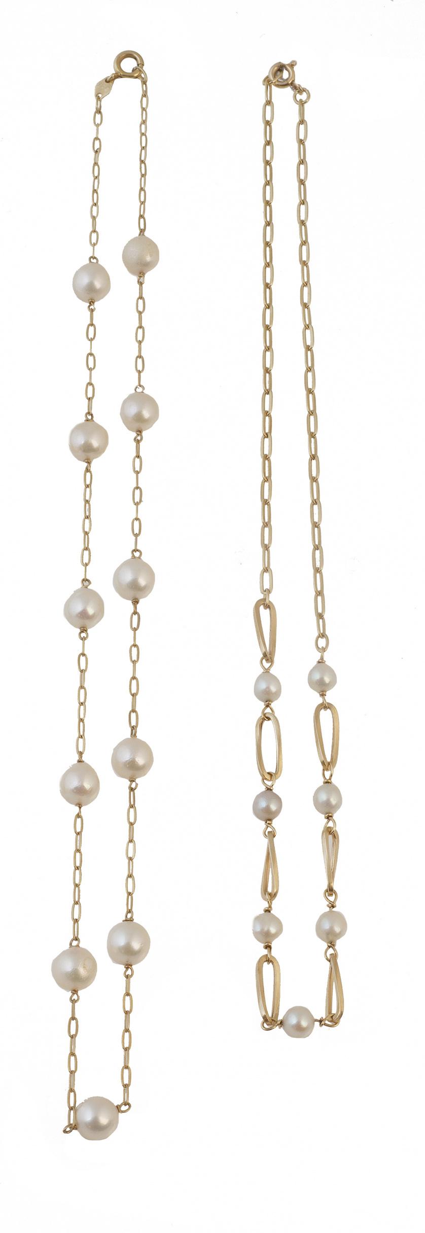 Lote de dos cadenas combinadas con perlas