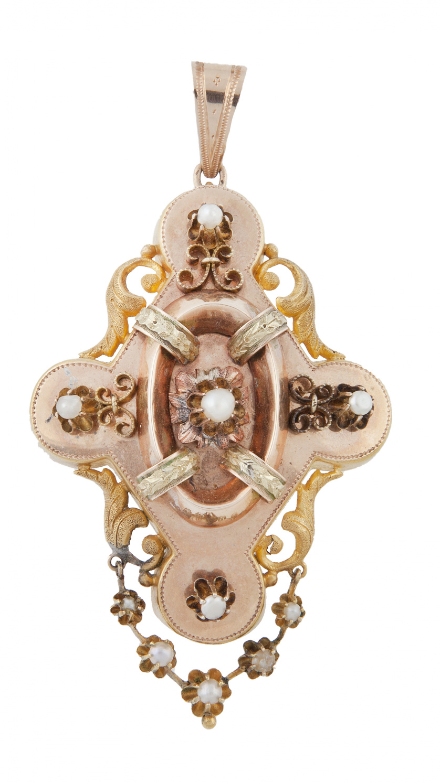 Broche-colgante isabelino con forma lobulada adornado con p