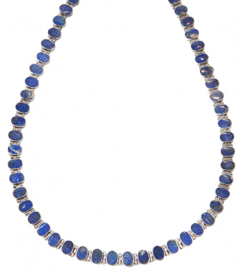 Lote de collar y pulsera de piedras ovales de lapislázuli a
