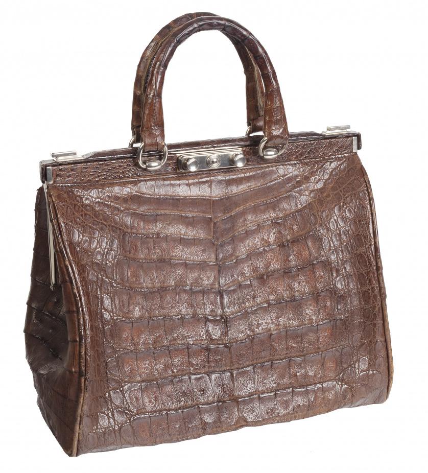 """Gran bolso de piel de cocodrilo marrón """"Weekender"""" con dos"""