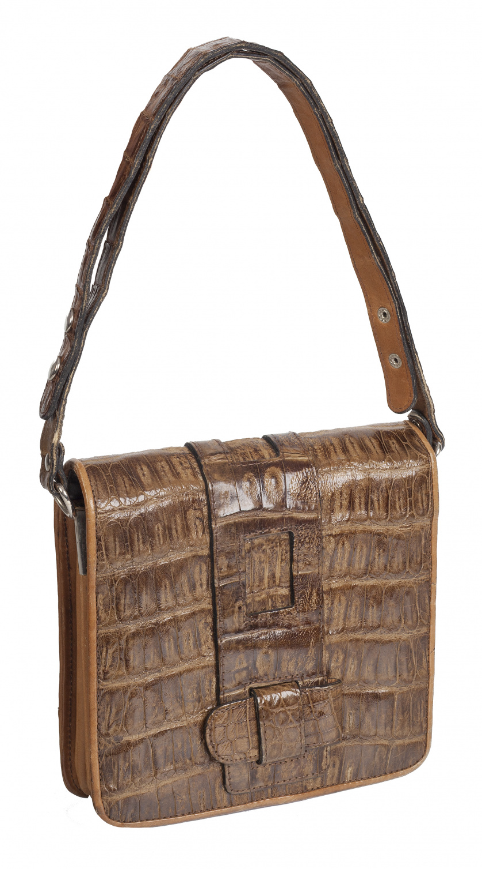 Bolso pequeño marrón claro con un asa larga graduable