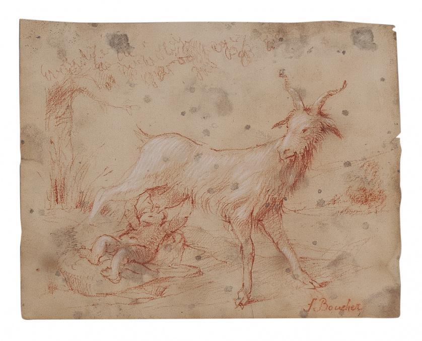 ESCUELA FRANCESA, H. 1800Estudio de una cabra amamantando