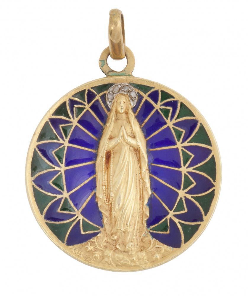 Medalla colgante de pp. S. XX con Virgen en marco de esmalt