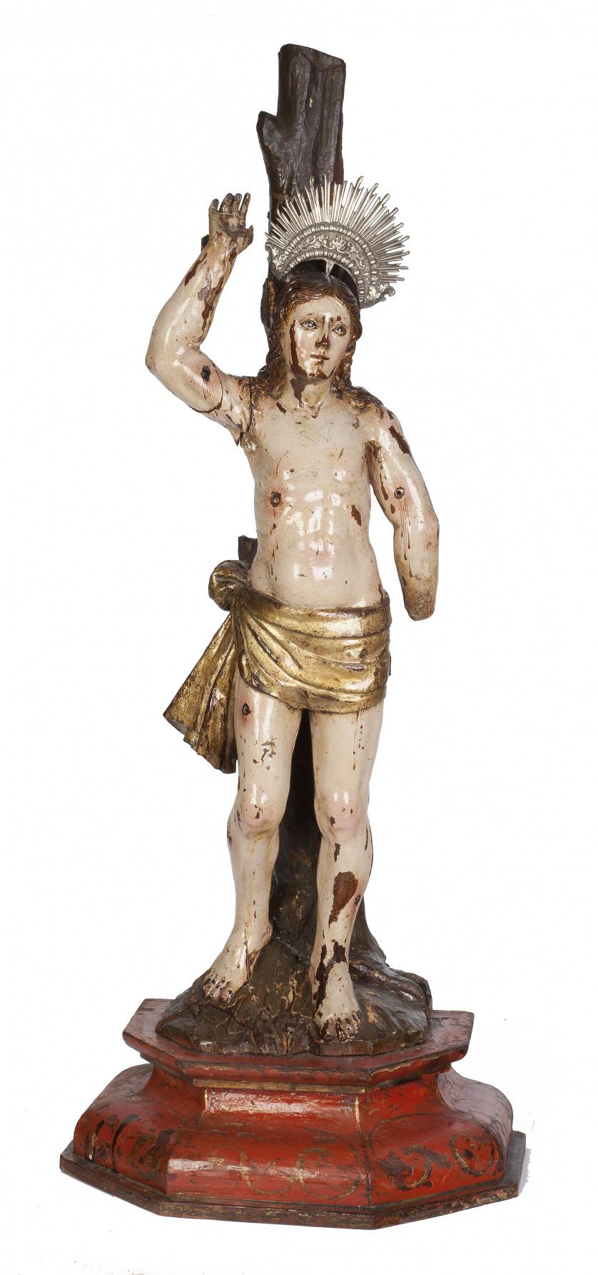San Sebastián.Escultura en madera tallada y policromada,
