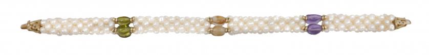 Pulsera tubular de perlas combinadas con grupos de cirtrino