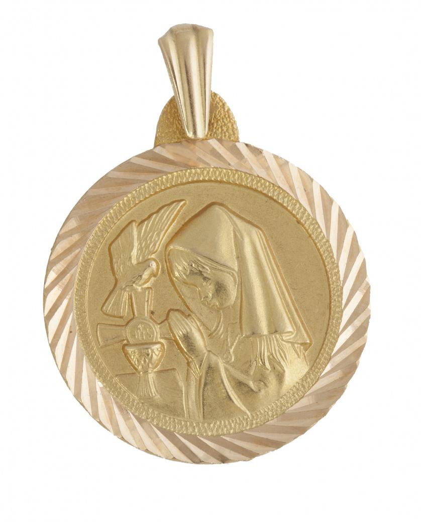 Medalla circular colgante de Virgen con cáliz y paloma