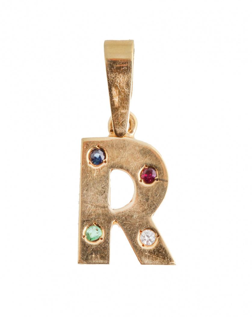 """Colgante con letra """"R"""" con brillantito, rubí y dos esmerald"""