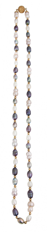 Collar de perlas barrocas multicolor alternas con bolitas d