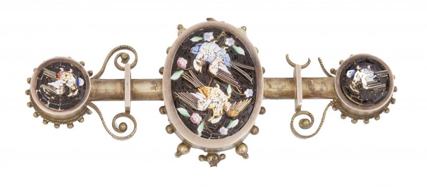 Broche de micromosaico italiano S.XIX