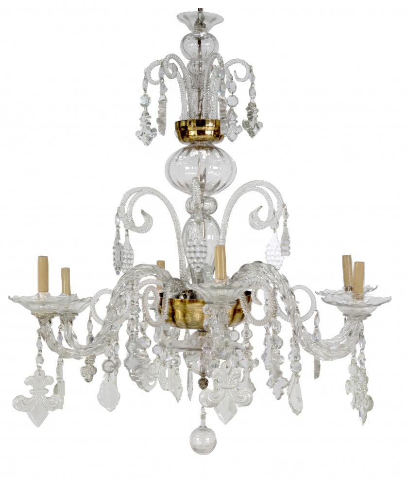 Lámpara de seis brazos de luz en cristal tallado trasparent