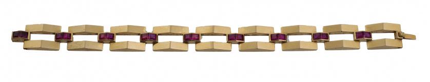 Pulsera chevalière articulada con eslabones de perfil prism
