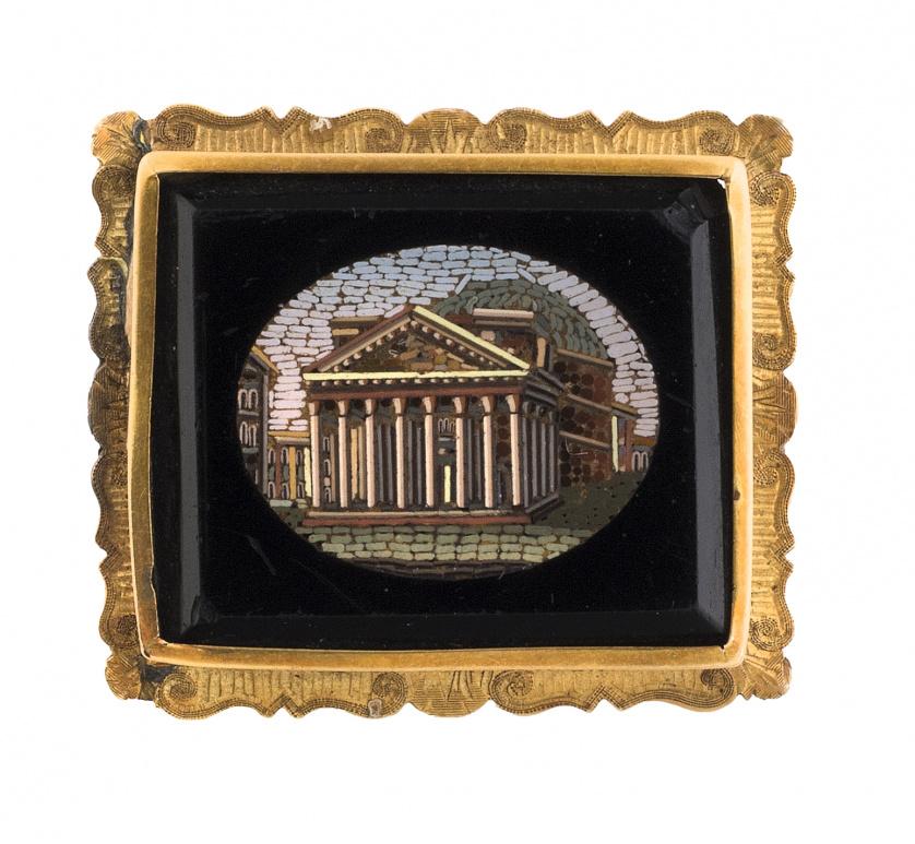 Broche de micromosaico de pp. S. XX con marco grabado y lob