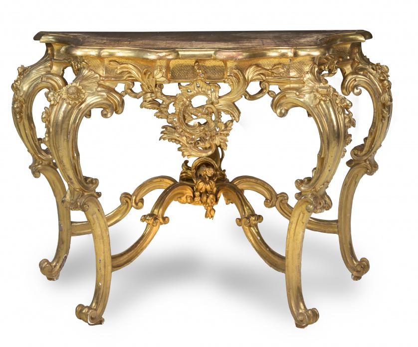 Consola de madera tallada y dorada.Trabajo italiano, S. X