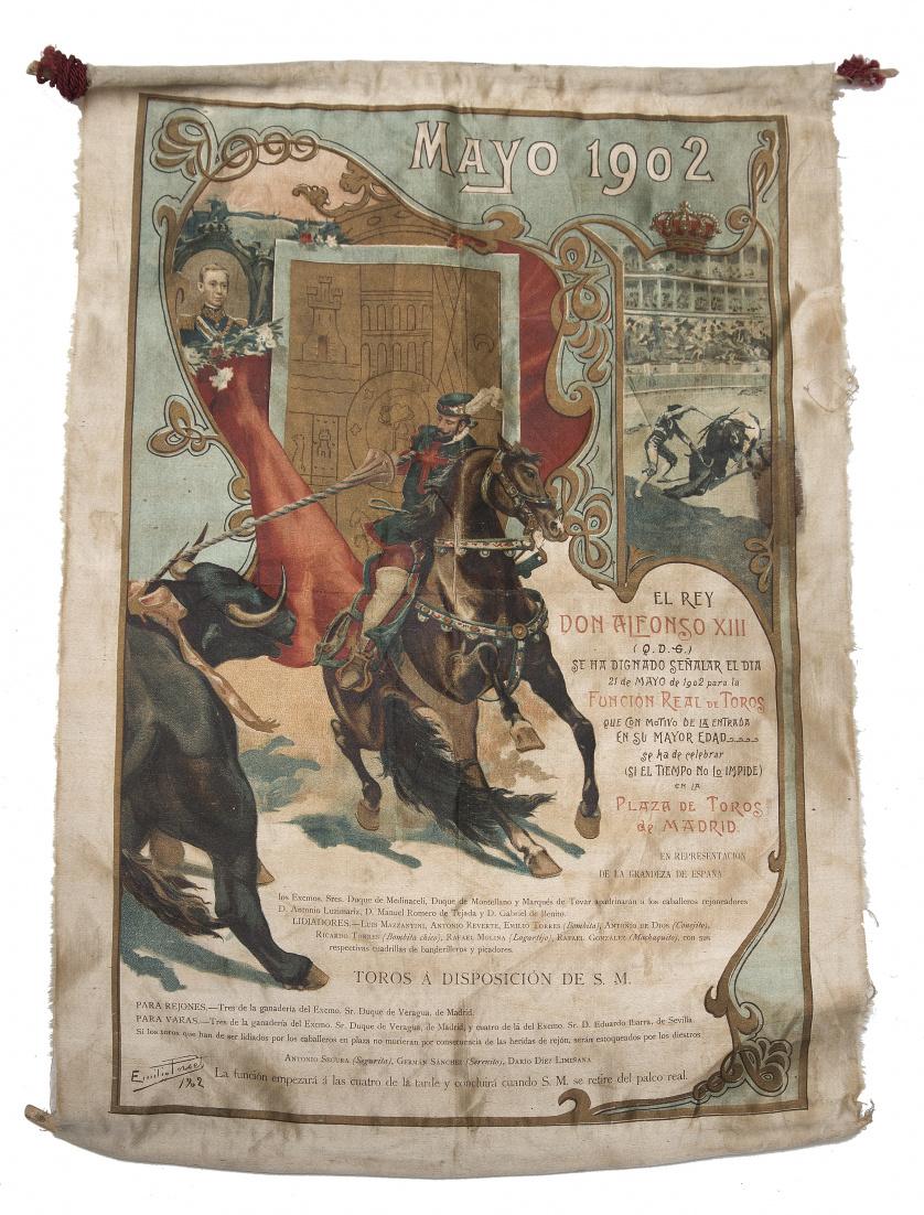 Cartel taurino de seda pintada para conmemorar la mayoría d