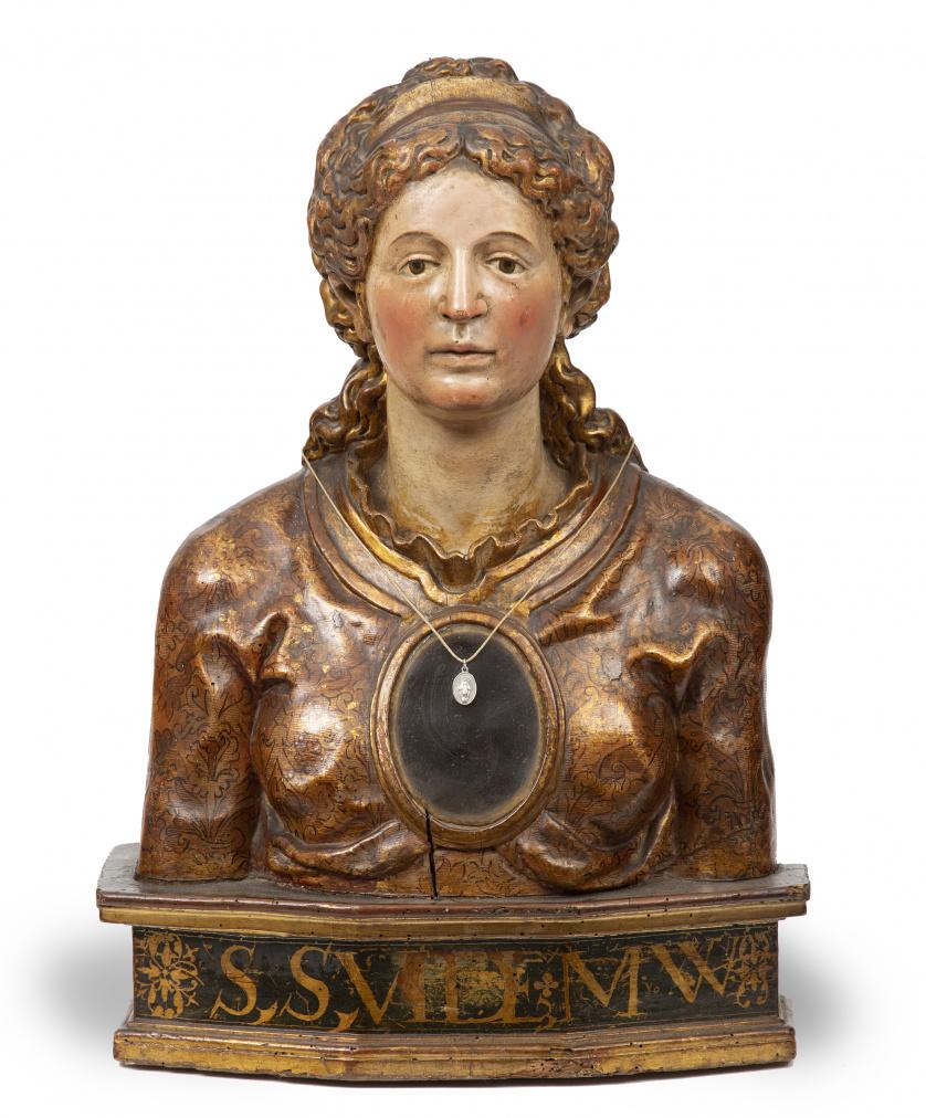 Santa Mártir.Busto relicario en madera tallada, policroma