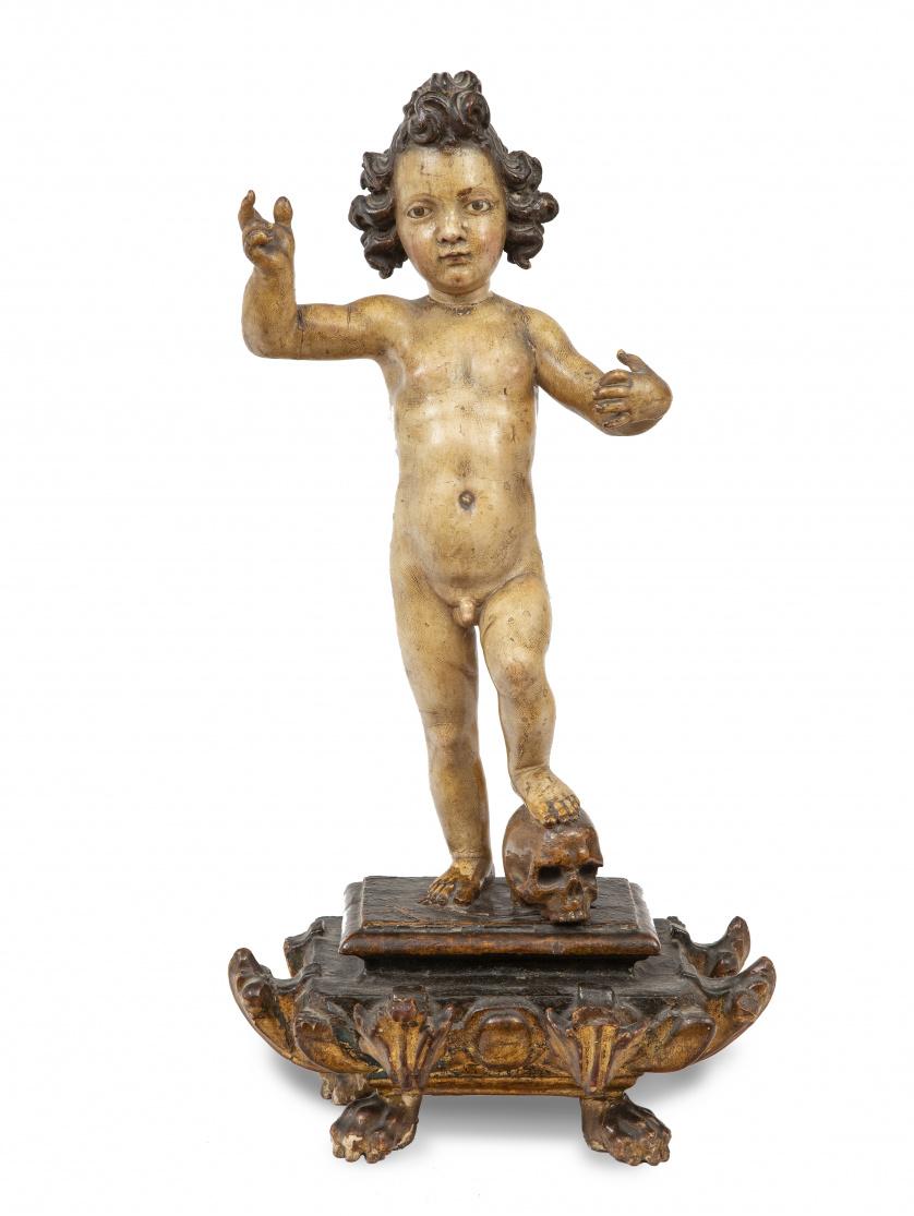 Niño Jesús de la Pasión.Escultura en madera tallada y pol