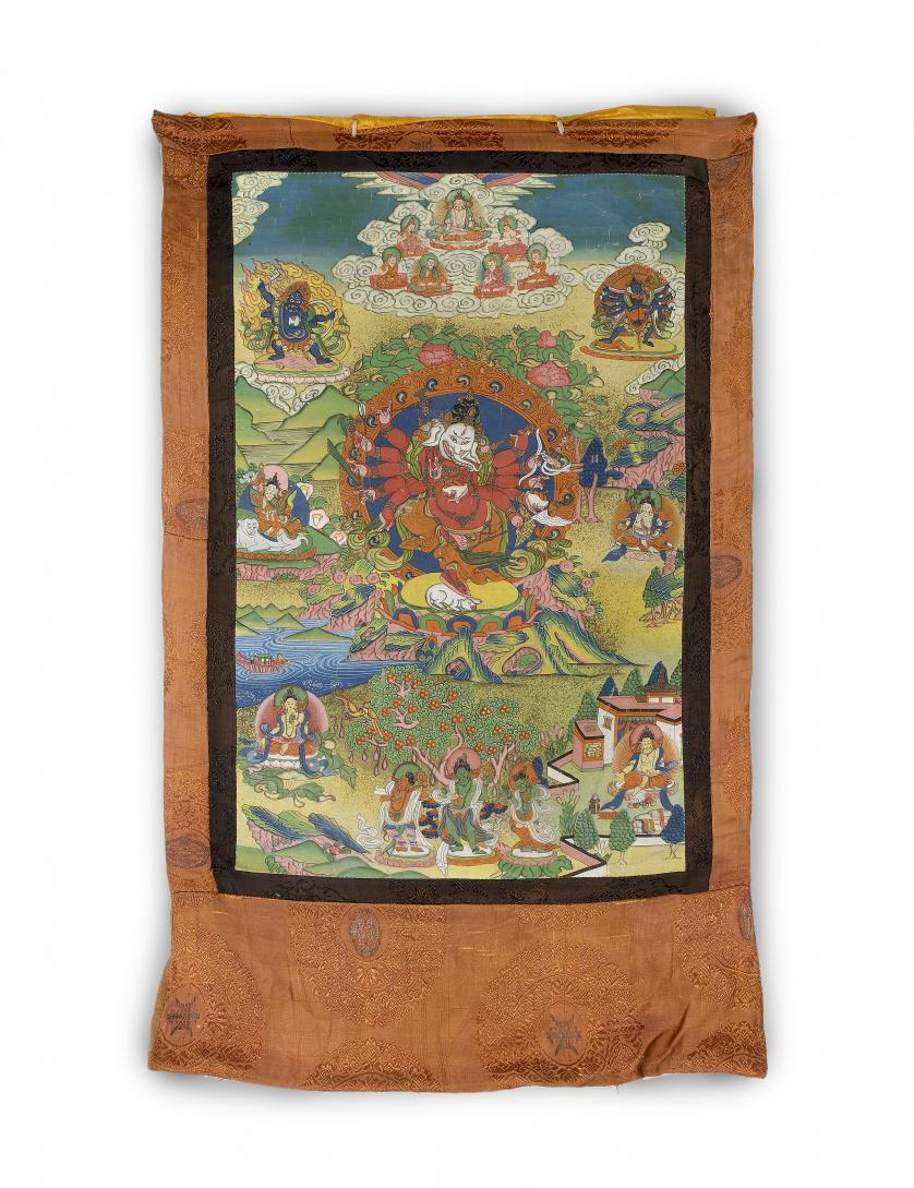 Tanka tibetano pintado sobre tela.Ff. S. XIX - pp. S. XX